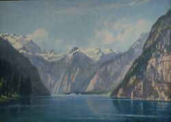 Painting Signed Alf. Tietz Dated 1923 High Mountain Landscape With Lake
