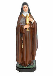 Saint Clare Of Assisi Fiberglass Statue Cm. 100 With Glass Eyes