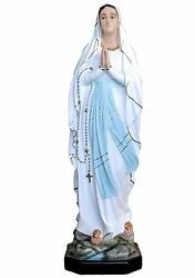 Our Lady Of Lourdes Resin Statue Cm. 105 With Glass Eyes