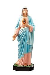Immaculate Heart Of Mary Fiberglass Statuen Cm. 110 With Glass Eyes