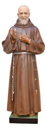 Statue Saint Padre Pio Cm 110 In Fibreglass With Eyes Of Glass Made In Italy