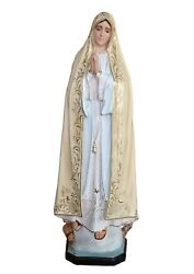 Statue Madonna Of Fatima Cm 120 In Fibreglass With Eyes Painted Made In Italy