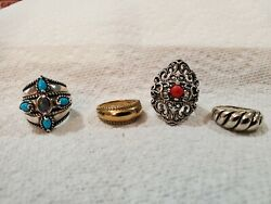 Carolyn Pollack Rings 925 Silver Sz 6 Possibilities Turquoise And Amethyst And Coral