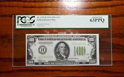 1934 100 Federal Reserve Note Lgs Light Green 💲 Pcgs 63 Ppq St Louis