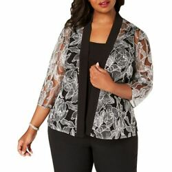 ALEX EVENING Women#x27;s Plus Embroidered Jacket amp; Camisole Blouse Shirt Top 1X TEDO $34.77