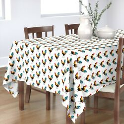 Tablecloth Farm Animals Roosters Blue Red Yellow White Land Cotton Sateen