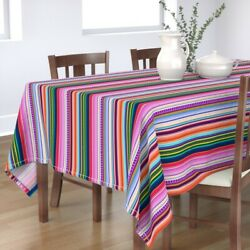 Tablecloth Colorful Stripes Serape Inspired Mexican Rainbow Ethnic Cotton Sateen