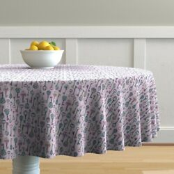 Round Tablecloth Silhouettes Childrens Bedroom And Lavender Purple Cotton Sateen