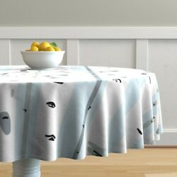 Round Tablecloth Birch Tree Forest Nursery Trees Blue Woodland Cotton Sateen