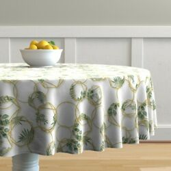 Round Tablecloth Circles Gold Golden Botanicals Chains Rings Ring Cotton Sateen