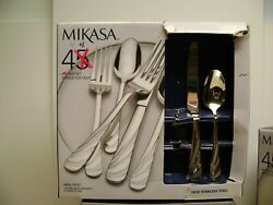 Mikasa Swirl Frost Stainless Steel Flatware 44 Piece Set For 7/8