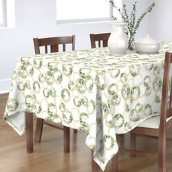Tablecloth Circles Gold Golden Botanicals Chains Rings Ring Cotton Sateen