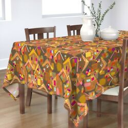 Tablecloth Christmas Gingerbread Houses Holiday Baking Village Cotton Sateen
