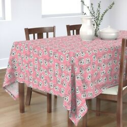 Tablecloth Rotary Dial Phone Pink Vintage Hello Telephone Cotton Sateen