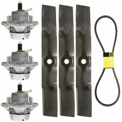 John Deere Spindle And Mower Blade 3 Pack Gt245 Lx280 Am144377 M143019 Uc22010