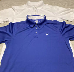 Callaway Golf Polo Shirts White Blue Mens Size Medium Polyester Lot Of 2