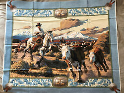 Western Fabric Panel 1 Yard Rodeo Ropers Cowboys Horses Wall Hanging Cotton