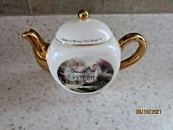 Thomas Kinkade Teapot Home Is Where The Heart Is White Gold Spout And Handle