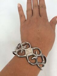 As Is Old Pawn Native American Navajo Silver Sand Cast Cuff Bracelet