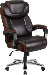 Flash Furniture Office Chair Brown Leathersoft Office Chair Headrest And Wheels
