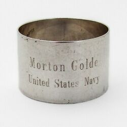 United States Navy Napkin Ring Webster Sterling Silver Mono