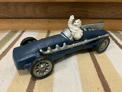 Michelin Man Cast Iron Race Car Vintage Style Hubley Toy Tires Gas Oil Garage