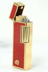 Colibri Of London John Sterling Vintage Gold Plated Red Inlay Butane Lighter