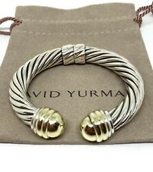 David Yurman 10mm Hinged Cable Cuff Bracelet Silver And 14k Gold Dome End Caps