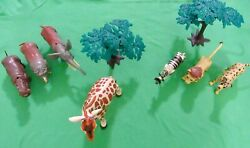 Toy Plastic Jungle / Safari Animals With Trees Lot Of 9 Pieces