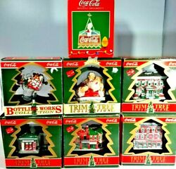 Lot Of 7 Collectible Cocacola Coke Trim-a-tree Christmas Tree Ornaments