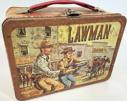 Antique 1960s Lawman John Russel Peter Brown Thermos Western Metal Lunch Box