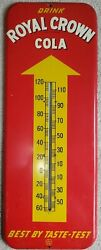 Large 1950s Royal Crown Cola Rc 25andfrac12 X 9andfrac34 Inch Thermometer Arrow