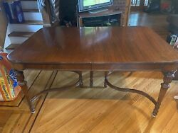 Antique Oak Dining Room Table And 6 Chairs With 3 Leaves