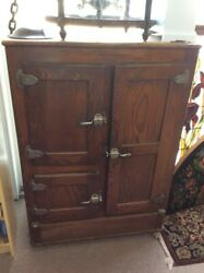 Solid Oak Antique 1900and039s Ice Box