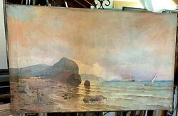 """1889 Antique Oil Painting On Canvas By Felix Ekblad. """"on The Coast Of Baltic"""""""