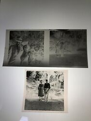 Lot 3 Photo Negatives Couples Outdoors 1940s Male Female Hat Wardrobe