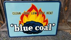 Nos 1956 Blue Coal Sign. Near Mint 33.5inx23in. Embossed. Painted Metal Wow