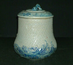 Blue And Grey Whites Utica Canister W/lid - - Stoneware Flemish Ware New York Ny