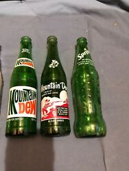 Vintage Green And Clear Soda Bottles 7-up Sprite Mountain Dew Root Beer Set 7
