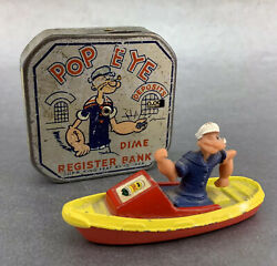 Antique 1929 Popeye Tin Toy Litho Dime Register Bank Metal King Feature Figurine