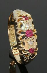 18 Carat Yellow Gold 'victorian Style' Ruby And Diamond Ring Size N 70.21.026