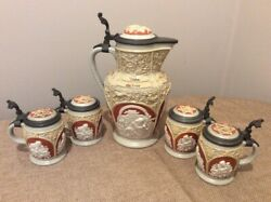 Villeroy And Boch, Antique 19th Century Cameo Lidded Stein Set - Rare