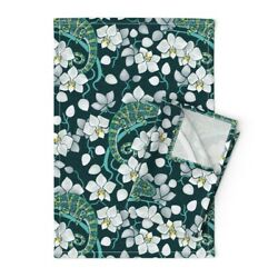 Rainforest Chameleon And Orchid Linen Cotton Tea Towels by Roostery Set of 2