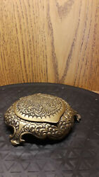 Vintage Cast Metal Brass Footed Compact With Mirror Made In Greece