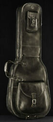 Harvest Fine Leather Brown Cow Antique Bag For Two Electric Bass Guitars