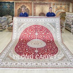 Large Red Handmade Rug 8x10ft Home Decor Antique Hand Knotted Silk Carpet 364c