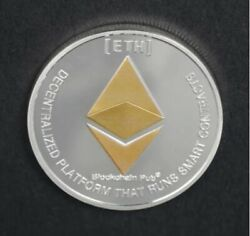 Eth Ethereum Cryptocurrency Virtual Currency Gold And Silver Plated Coin | Bitcoin