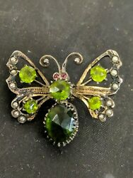 Antique Silver Butterfly Brooch With Seeds Pearl And Green Stone Mark 800