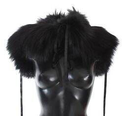 Dolce And Gabbana Scarf Black Fox Fur Shoulder Wrap Cover Collar S. M