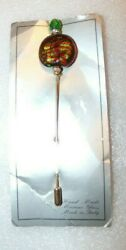 Beautiful Hand Made Murano Glass-made In Italy Hat Pin On Original Card 4 5/8 In